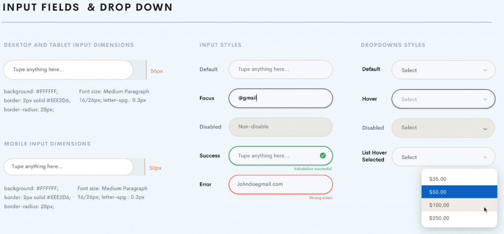 input fields