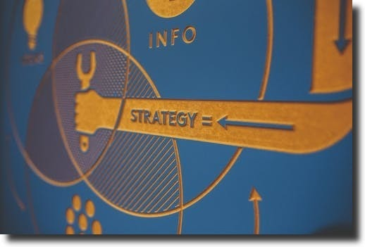 strategy on the image with arrow