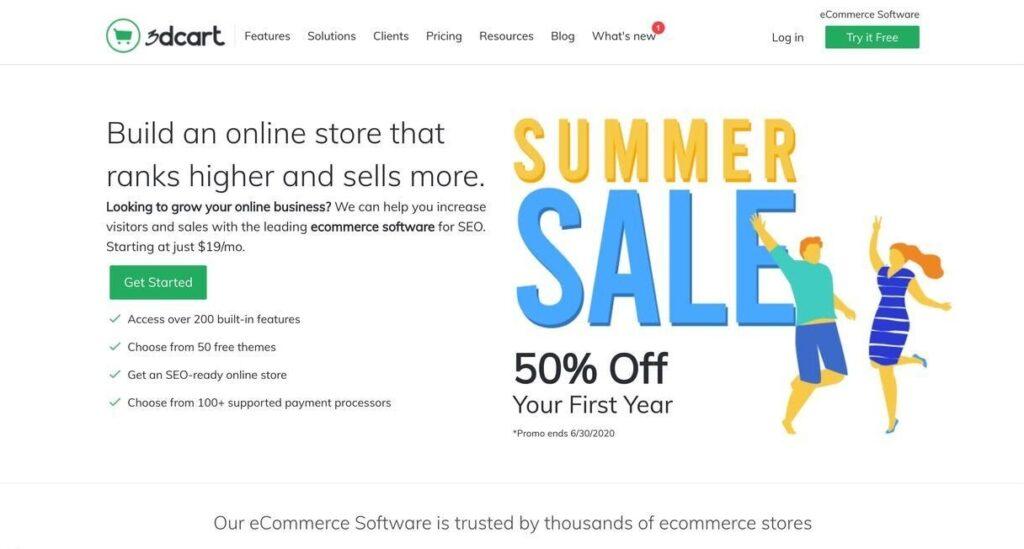 3dcart website screenshot