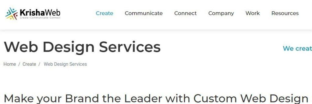 KrishaWeb website screenshot