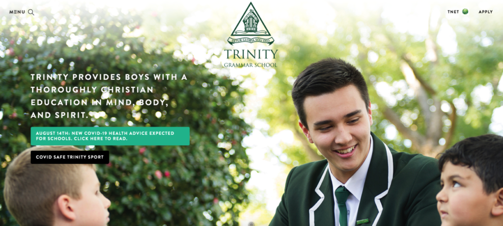 Trinity Grammar School website screenshot school web design