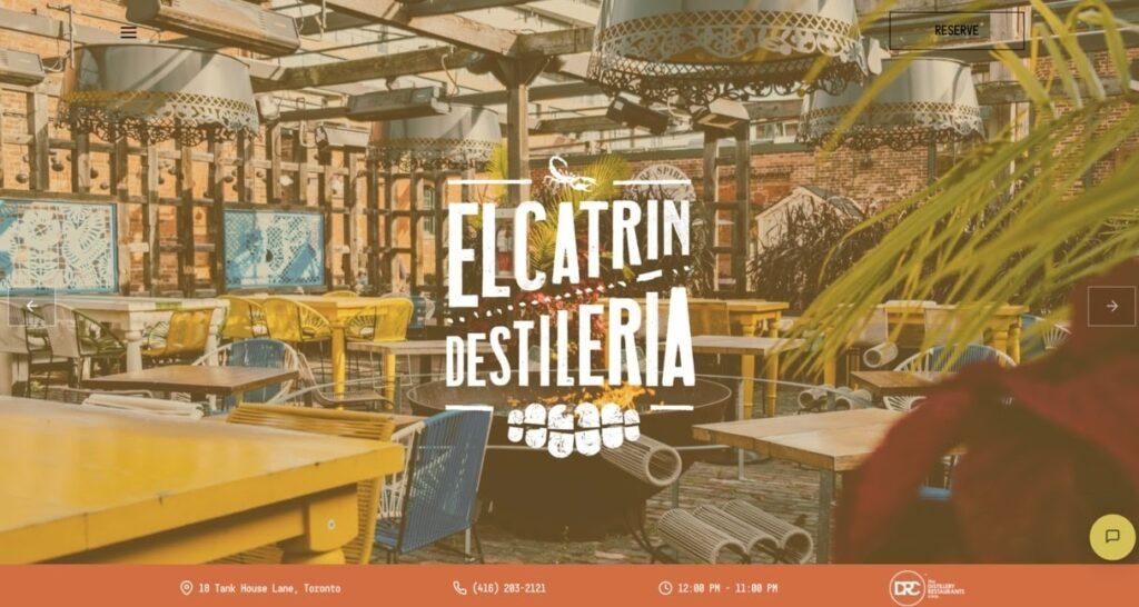 Elcatrin Destileria website screenshot Restaurant Website Design