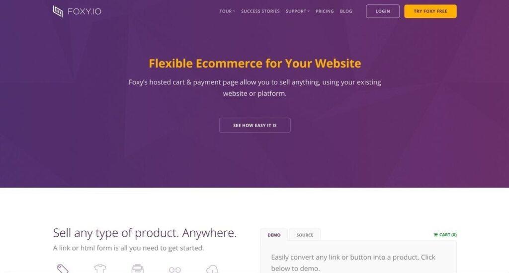 Foxycart or Foxy.io website screenshot Best Ecommerce Platforms