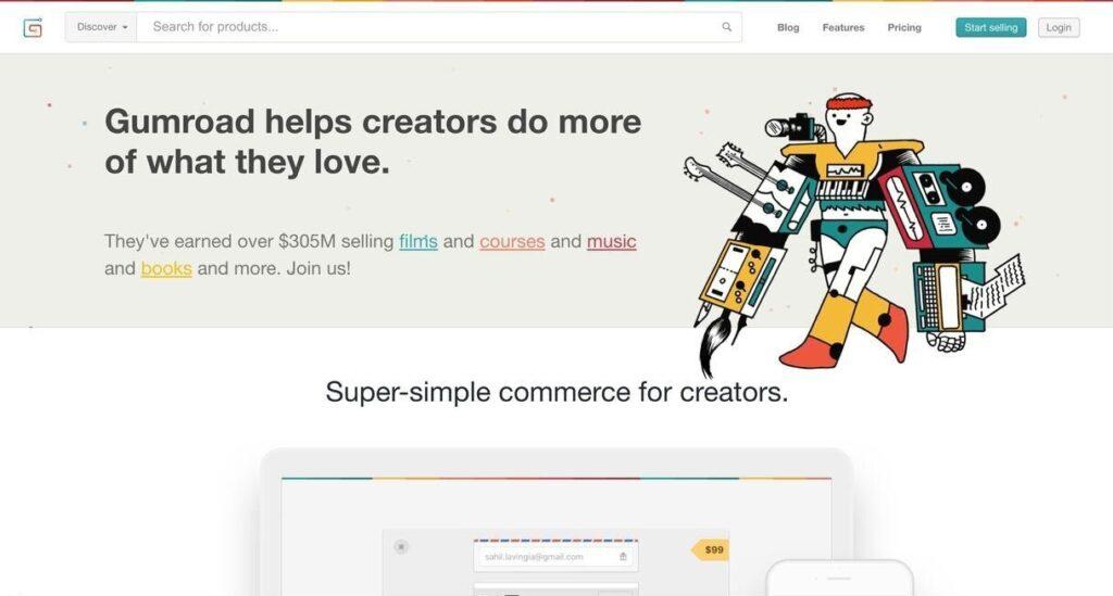 Gumroad website screenshot