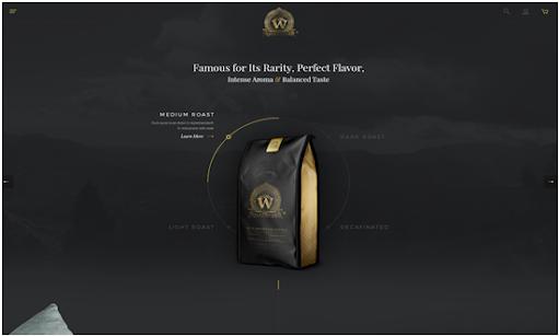 website screenshot dark design interface