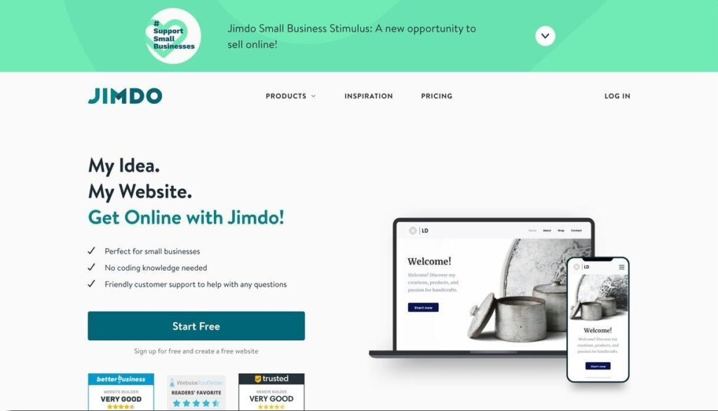 jimdo website screenshot Best Ecommerce Platforms