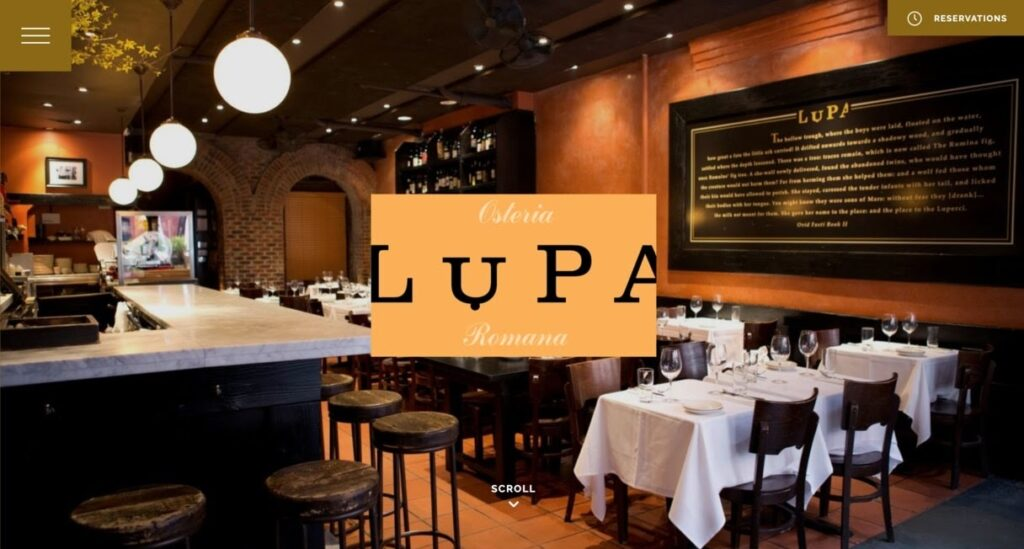 Lupa website screenshot Restaurant Website Design