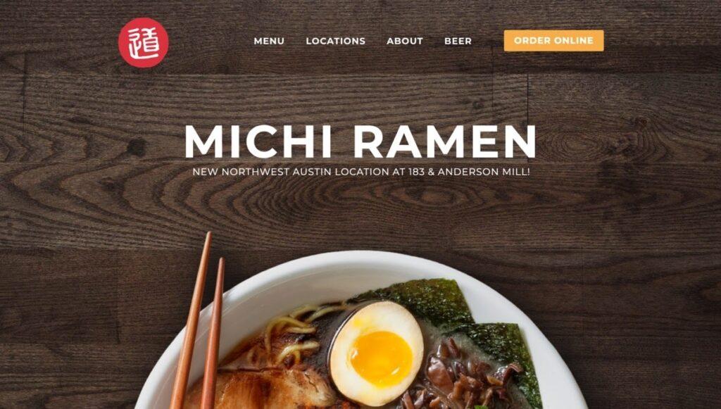 Michi Ramen website screenshot