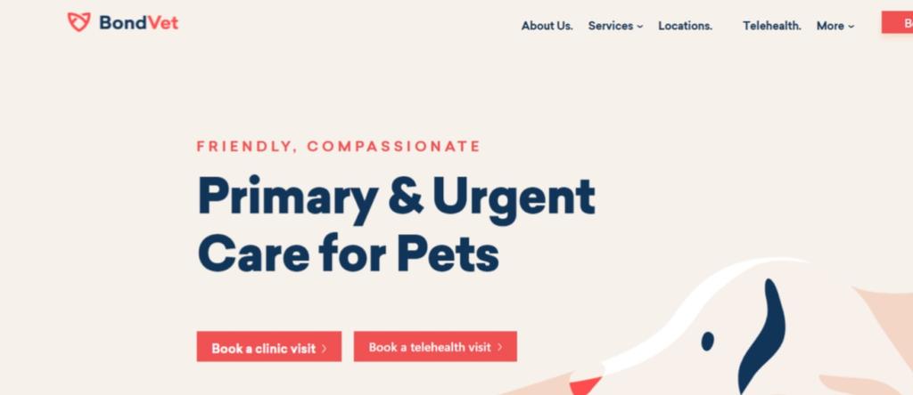 BondVet website screenshot veterinary website design