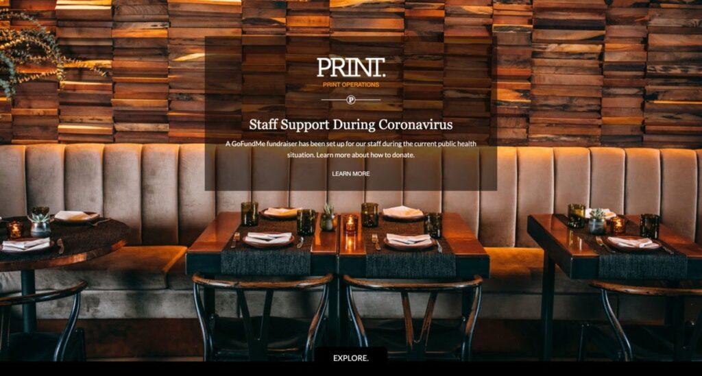 Print Restaurant website screenshot Restaurant Website Design
