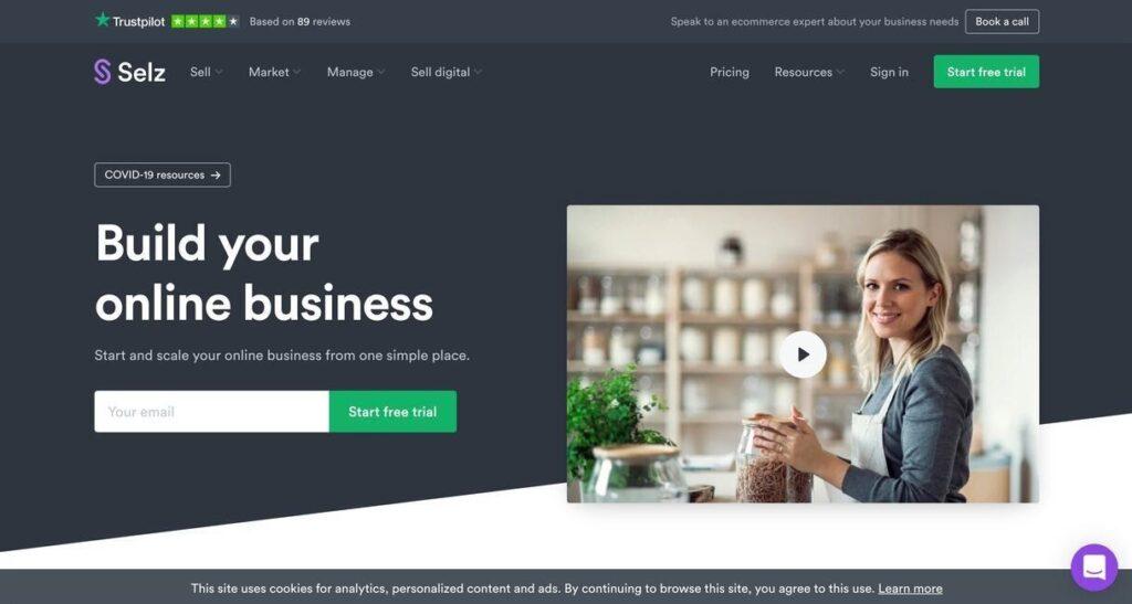 selz website screenshot Best Ecommerce Platforms