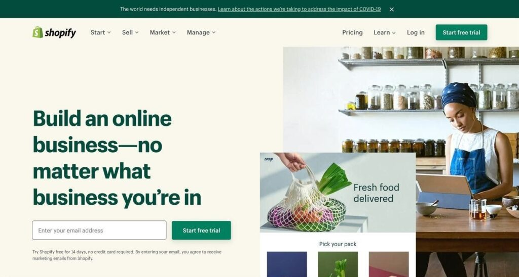 shopify website screenshot Best Ecommerce Platforms