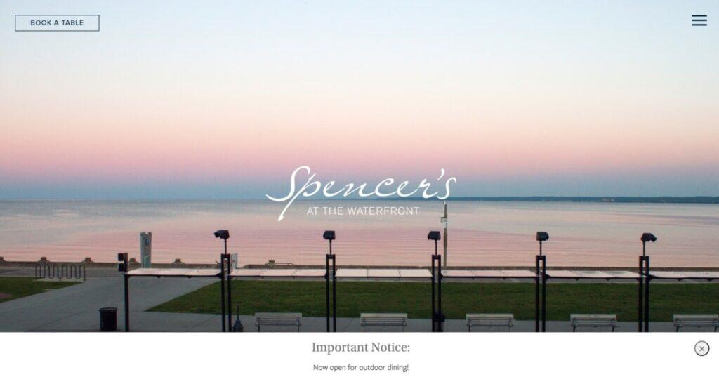 Spencer's website screeenshot Restaurant Website Design