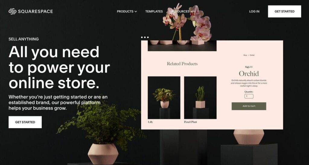 Squarespace website screenshot