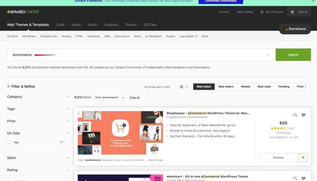 ThemeForest website screenshot for Building an eCommerce Website
