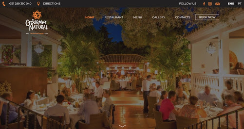 Gourmet Natural website screenshot Restaurant Website Design