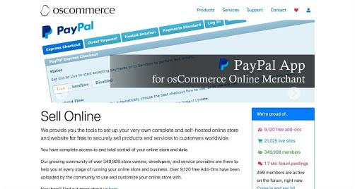 osCommerce website screenshot