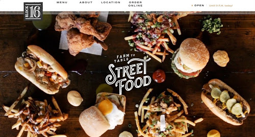 Block 16 website screenshot Restaurant Website Design