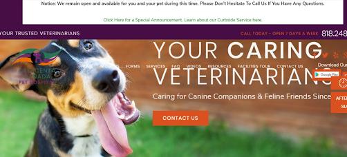 Crescenta Canada Pet Hospital website screenshot veterinary website design