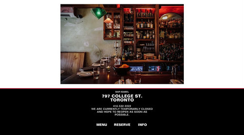 Bar Isabel website screenshot