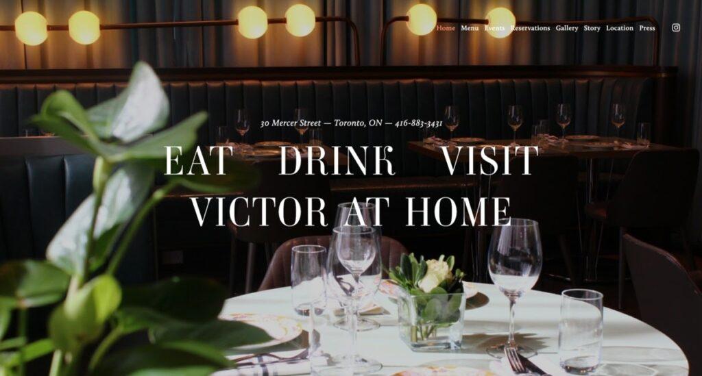 Victor Restaurant website screenshot