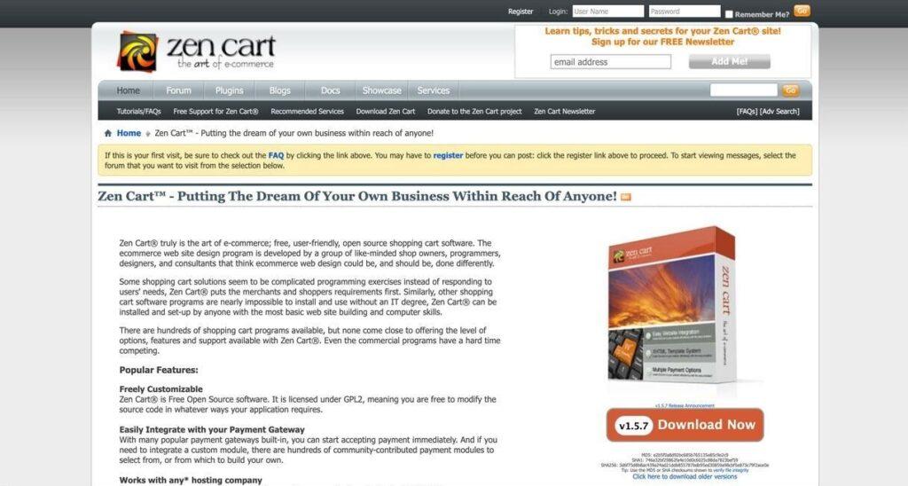 Zen Cart website screenshot