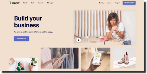 Shopify main page