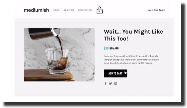 Upsell Page Squarespace Plugin
