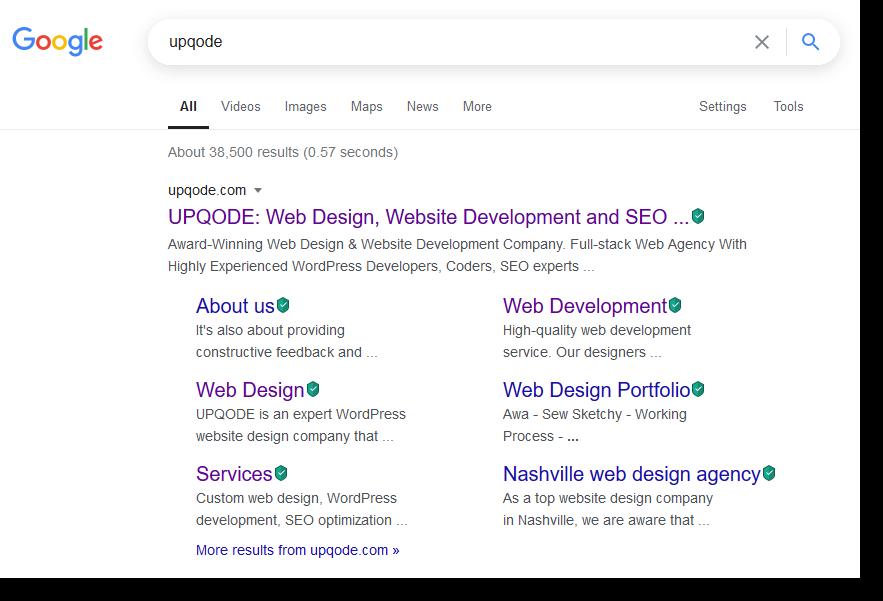 Google search result screenshot UPQODE