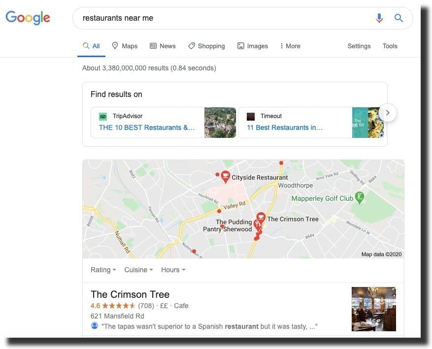 search result restaurants near me google