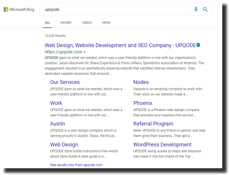 Microsoft Bing search result screenshot UPQODE