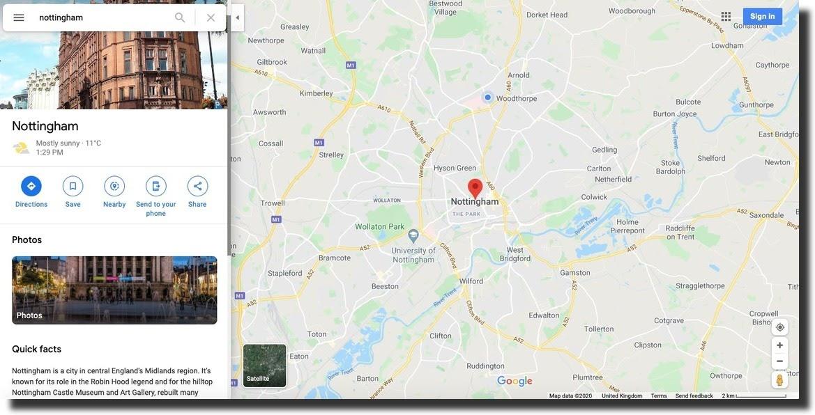 Google Maps screenshot search result Nottingham