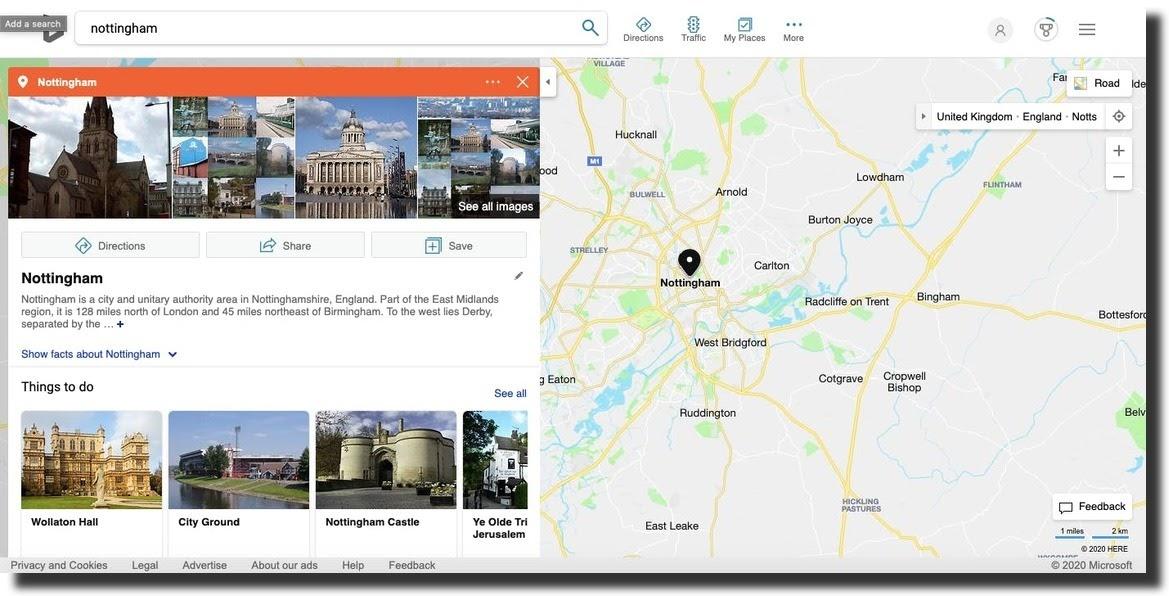 Bing Maps screenshot search result Nottingham
