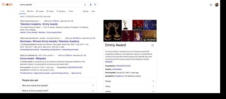 Google search screenshot emmy awards