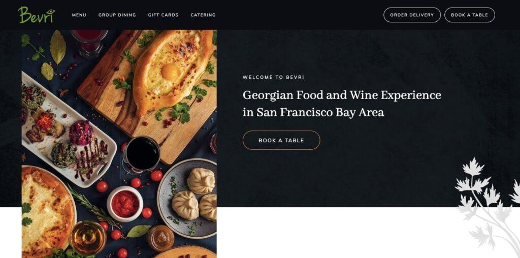 Bevri web restaurant