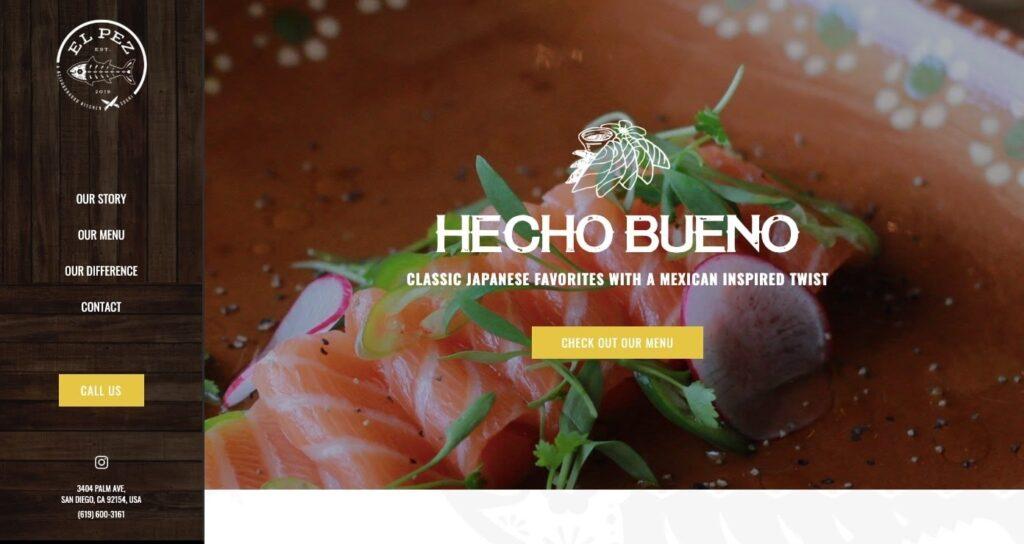 El Pez restaurant web design