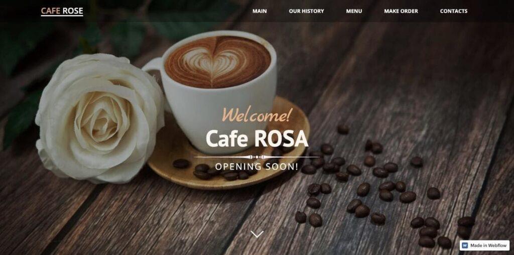 Cafe Rosa restaurant web design