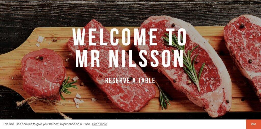 Herr Nilson web restaurant