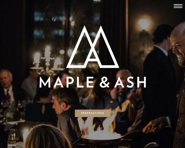 maple & Ash web restaurant