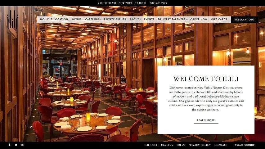 Ilili web restaurant