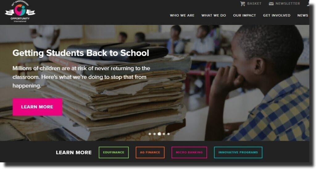 Opportunity International Nonprofit Website