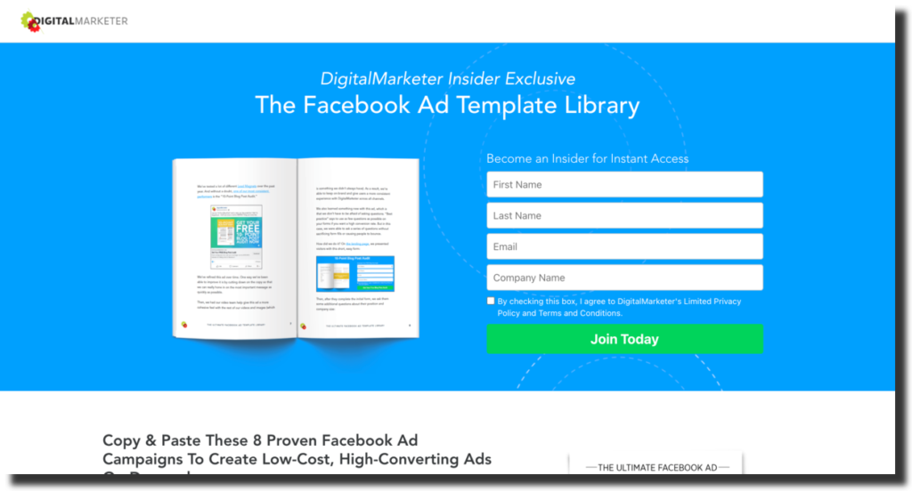 Facebook ad template library