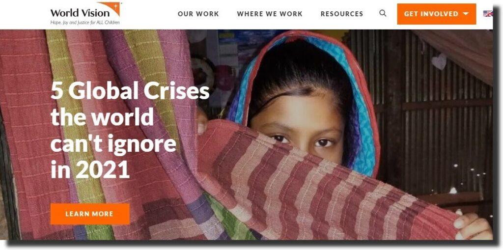 World vision nonprofit website