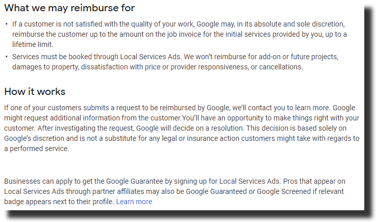 Google Guarantee Program Benefits