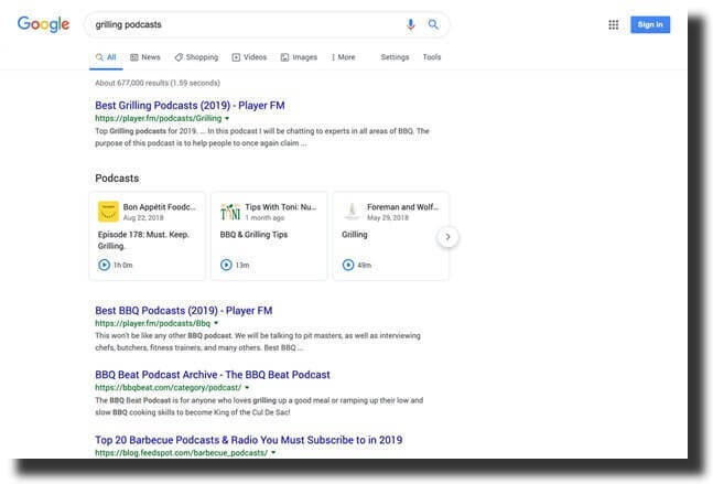 podcast platforms in search