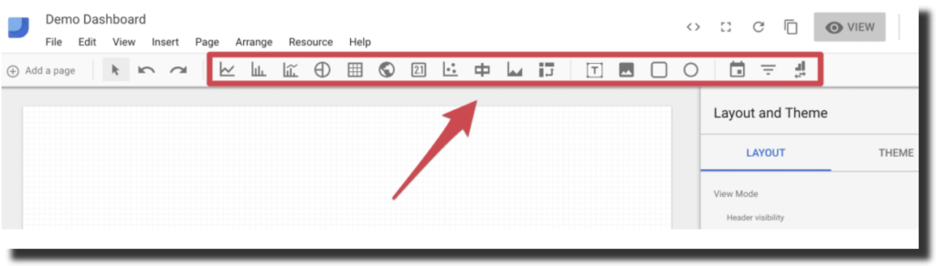 select the particular icon to add the relevant element