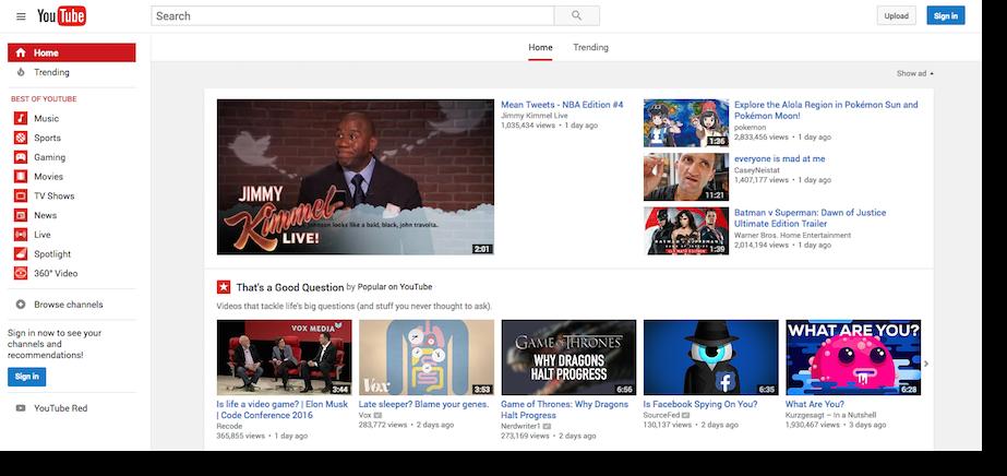 YouTube video hosting platform