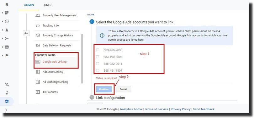 Google ads linking