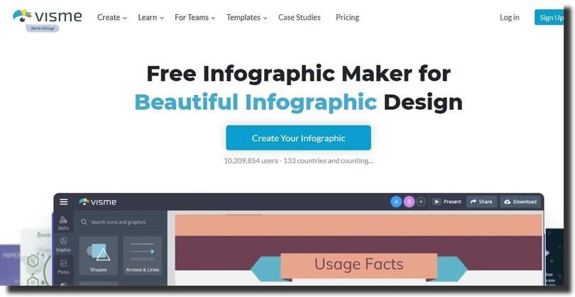 visme infographic creation tool