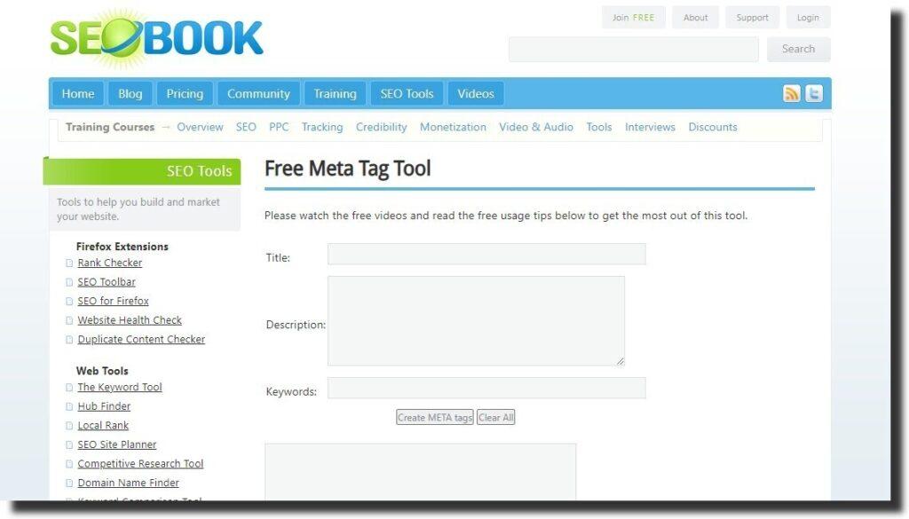 seobook meta tag tool